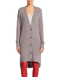 VINCE | Gray Directional Rib Cashmere Cardigan | Lyst