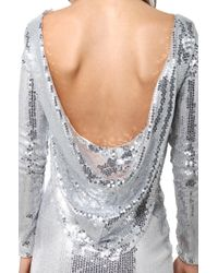 AKIRA | Metallic Ls Drape Back Sequin Dress | Lyst