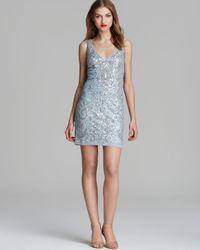 Aidan Mattox Blue Dress - Double V Neck Sequin