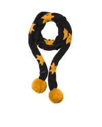 COACH Black X Blitz 'apollo' Star Merino Wool Pompom Scarf