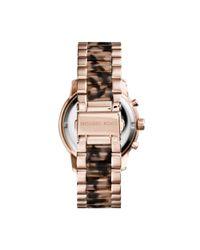 Michael Kors - Pink Cooper Rose Gold-tone Tortoise Acetate Watch - Lyst