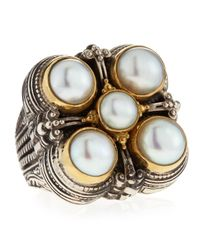 Konstantino | Metallic 5-pearl Square Ring | Lyst