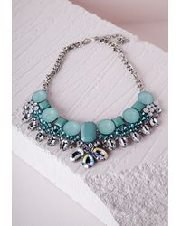 Missguided - Blue Statement Crystal Necklace Aqua - Lyst
