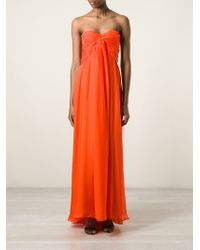 MSGM - Orange Gathered Strapless Gown - Lyst