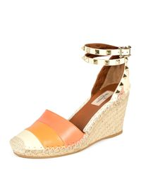 Valentino - Orange Rockstud Color-Blocked Wedge Espadrilles - Lyst