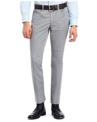 Kenneth Cole Reaction Gray Slim Sateen Pants for men