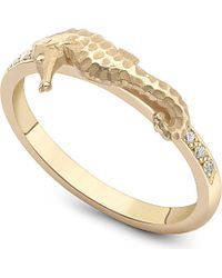 Theo Fennell | Metallic Seahorse Gold And Diamond Stack Ring | Lyst