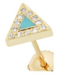 Jennifer Meyer Blue 18karat Gold Turquoise and Diamond Triangle Earrings