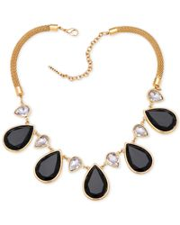 Tahari | Metallic T Gold-tone Black Stone And Crystal Pear Statement Necklace | Lyst