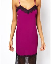 ASOS | Blue Midi Cami Dress With Lace Trim | Lyst