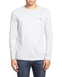 Lacoste White Long Sleeve Pima Cotton T-shirt for men