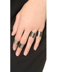 Luv Aj Metallic Tall Plain Ring Set - Antique Platinum