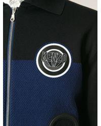 KENZO - Blue Logo Patch Bomber Jacket for Men - Lyst