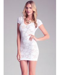 Bebe White Crochet Double Layer Dress