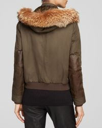 Vince Brown Anorak - Quilted Fur Trim