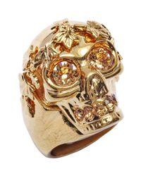 Alexander McQueen | Metallic Gold Brass And Swarovski Crystal Punk Skull Ring | Lyst