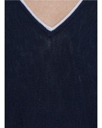 Vince - Blue Contrast Trim Cotton Sweater - Lyst