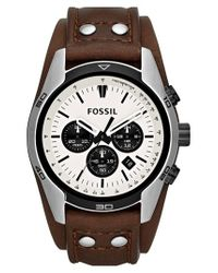 Fossil - Brown 'sport' Chronograph Leather Cuff Watch for Men - Lyst