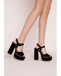 70ea7d0fe39 Lyst - Missguided 70 s Platform Block Heel Sandals Black in Black
