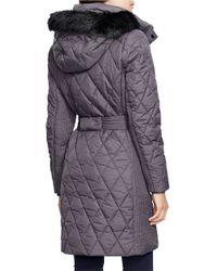 Lauren by Ralph Lauren | Metallic Faux Fur-trimmed Down Jacket | Lyst