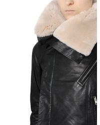 Rick Owens Black Classic Beaver Nappa Leather Jacket