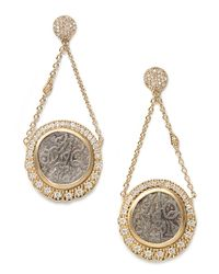 Coomi - Metallic Antiquity 20k Double-chain Coin Earrings with Diamonds - Lyst