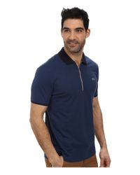 Lacoste - Blue Pique Pima Stretch Slim Fit Polo With Zipper Placket - Lyst
