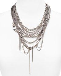 Rebecca Minkoff - Metallic Hex Chain Statement Necklace 16-22 - Lyst