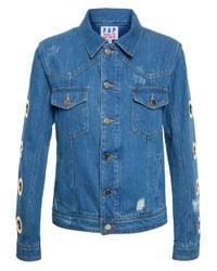 Filles A Papa Blue Denim Jacket With Eyelets
