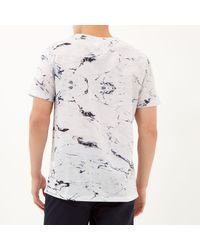 River Island White Marble Print T-Shirt for men
