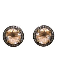 Adornia | Metallic Clear Quartz And Champagne Diamond Echo Stud Earrings | Lyst