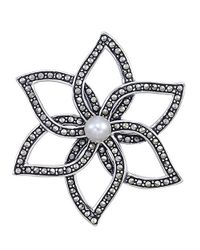 Lord & Taylor - White Sterling Silver And Marcasite Flower Brooch - Lyst