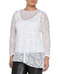 Marina Rinaldi - White Facilita Long-sleeve Lace Tunic - Lyst