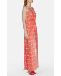 Karen Millen - Blue Pleated Maxi Dress - Lyst