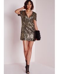 Missguided | Metallic Sequin Shift Dress Gold/black | Lyst