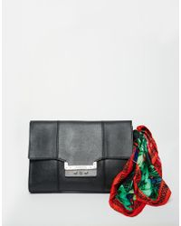 Love Moschino - Blue Clutch Bag With Scarf - Lyst
