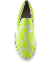 Christopher Kane - Yellow Flower Print Slip-Ons - Lyst
