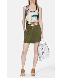 Karen Millen Green Soft Tencel Safari Short