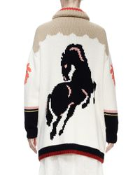 Stella McCartney - White Horse-print Intarsia Cardigan Sweater - Lyst