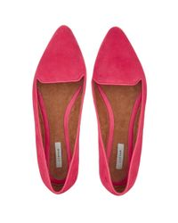 Jigsaw Pink Cecile Suede Pointed Flat Shoes
