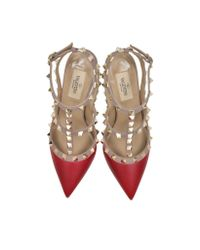 Valentino - Multicolor Rockstud Rosso & Poudre Leather Ankle Strap Pump - Lyst