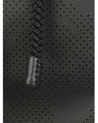 Alexander McQueen Black Perforated-Skull Leather Backpack for men