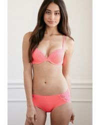 Forever 21 - Pink Lace-paneled Push-up Bra - Lyst