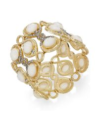 INC International Concepts - Metallic Goldtone Opalcolored Stone and Crystal Stretch Bracelet - Lyst