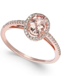 Macy's | Metallic Morganite (3/4 Ct. T.w.) And Diamond (1/5 Ct. T.w.) Ring In 14k Rose Gold | Lyst