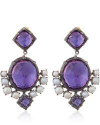 Larkspur & Hawk Purple Silver Pink Amethyst And Pearl Bella Compass Earrings