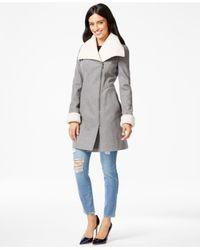 DKNY Gray Faux-fur-trim Asymmetrical Walker Coat