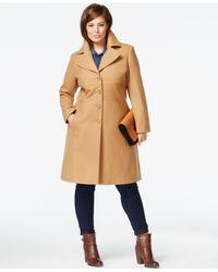 Tommy Hilfiger Natural Plus Size Wool-blend Walker Coat