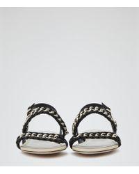Reiss - Black Chiara Chain-detail Leather Sandals - Lyst