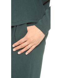 Sarah Chloe Metallic Diamond Organic Mirror Ring Cleargold